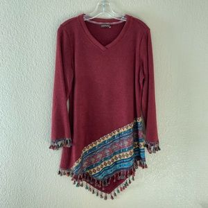 Sweaters - NWOT Tunic Aztec Maroon Tassel Sweater Medium